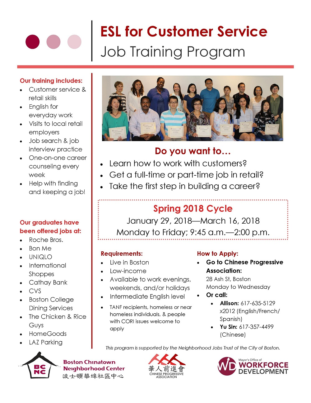 BCNC: ESL for Customer Service Job Training Program