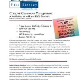 First Literacy – Creative Classroom Management