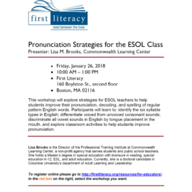 First Literacy – Pronunciation Strategies for the ESOL Class