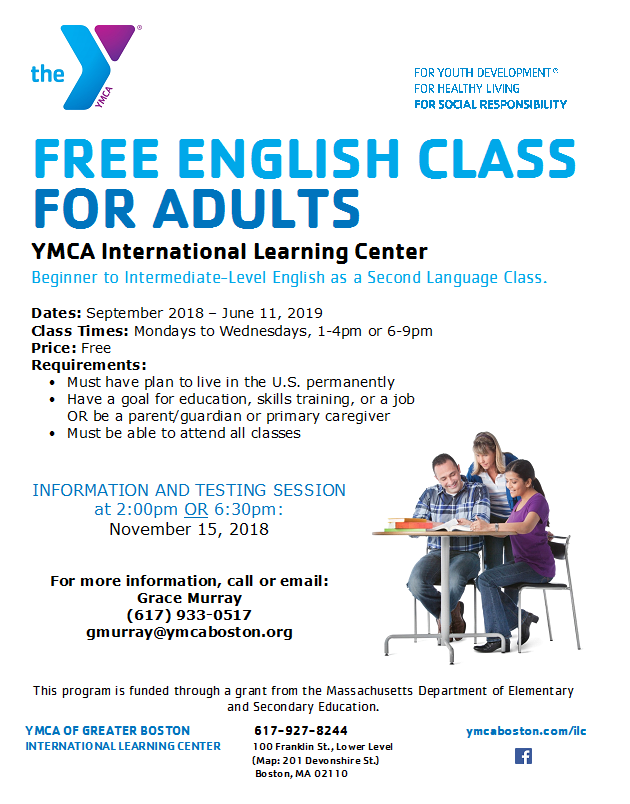 Sign Up for Free Adult English Class