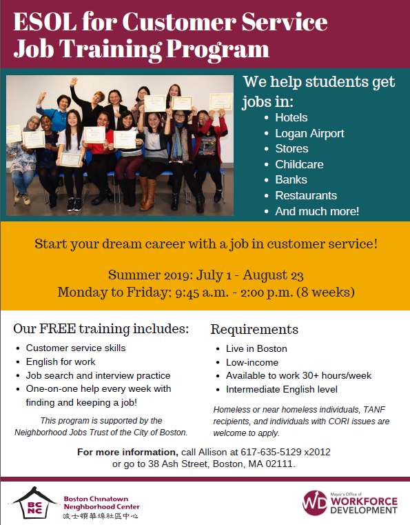 ESOL for Customer Service Job Training - Summer 2019