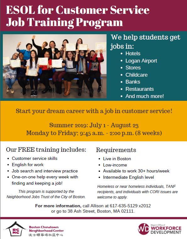ESOL for Customer Service Job Training - Summer 2019